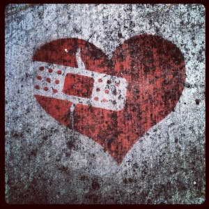 image of a graffiti heart with a band aid